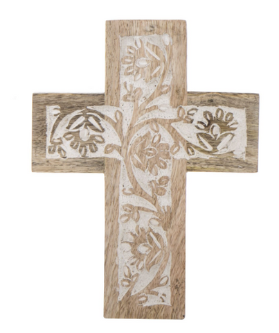"New Amalfi ""Anqul"" Cross Wall Sculpture Decor in Natural White Wash Wood 20cm"