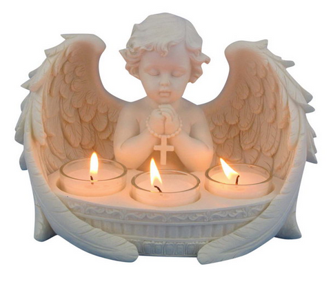 Brand New Praying Cherub With 3 Tealight Candle Holder Ornament Statue 21cm H