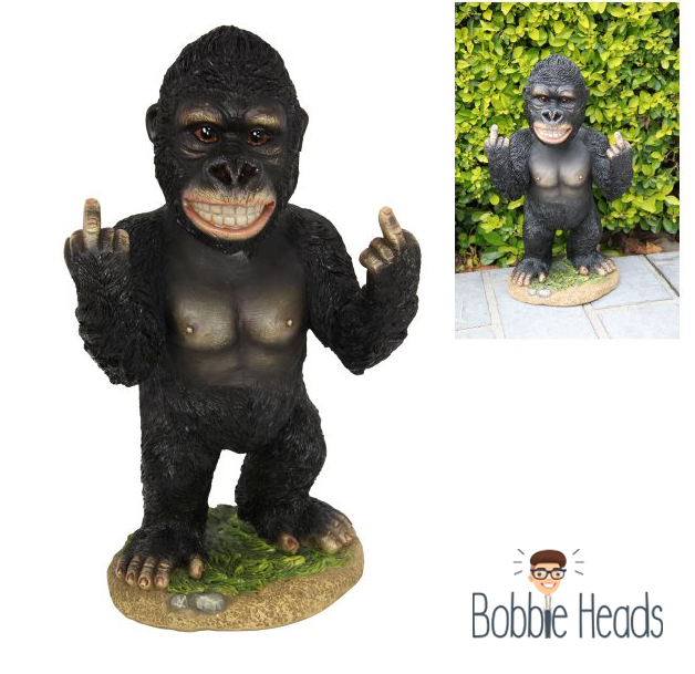 Brand New Bobble Head Cheeky Rude Fxck Off Finger Gorilla 'BOB' 34CM