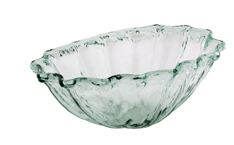 New Amalfi ECO GLASS Glassware Calm Shell Bowl Crafted in Spain 100% Recycled