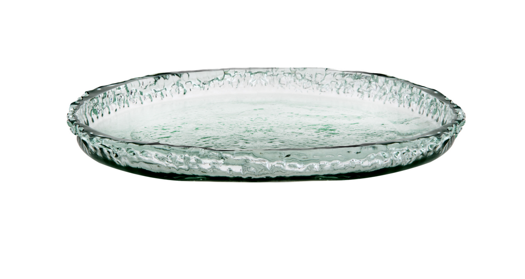 New Amalfi ECO GLASS Glassware Pacific Platter Crafted in Spain 100% Recycled 31 cm