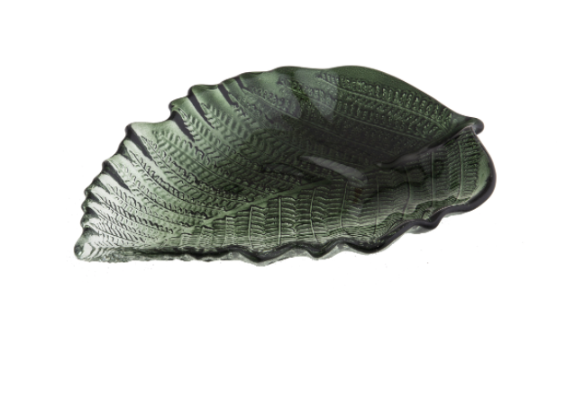 New Amalfi FERN PLATE Size SmallGlassware Clear Green Hand made 27 x 16 cm