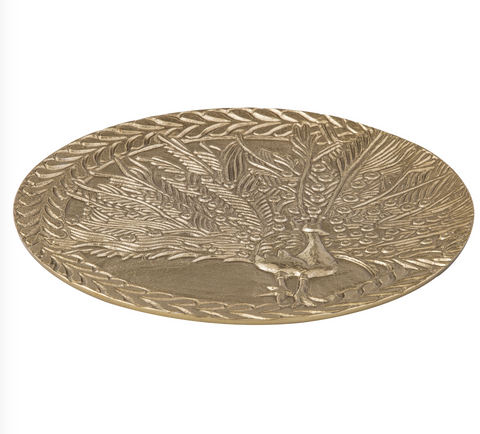 "New Amalfi ""MASIKA"" Plate in Gold Metal Peacock Home Decor Handmade 28 cm Dia"