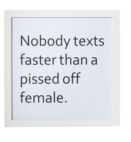 New Amalfi 'No body Texts Faster than a Pissed off Female' Wall Decor Hanging MDF 40 X 40 cm