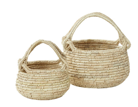 "Amalfi ""Bolla"" Set of 2 Storage Hamper Baskets in Natural Date Leaf"