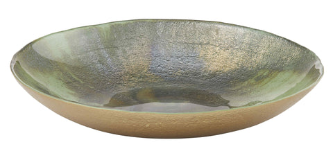 "Amalfi ""Anya"" Glassware 'Earthen' Green & Rustic Bronze Large Platter 50cm Made in Turkey"