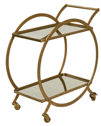 "Amalfi ""Walter"" Drinks Trolley 80cm Gold Metal w/ Mirror"
