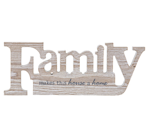 Brand New Emporium MDF Wood Family Sign Sculpture Home Table Decor