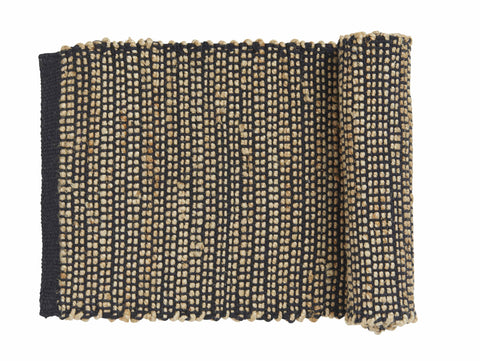 "Amalfi ""Orson"" Table Runner in Natural Jute & Black Cotton 35 x 140 cm"