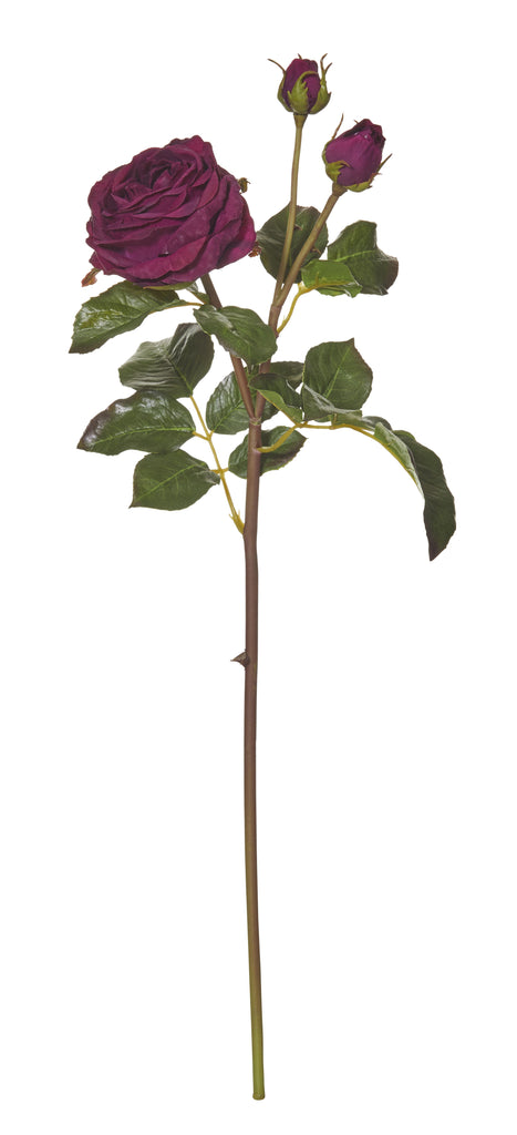 Rouge Fake Artificial Plant Flower Cambridge Rose Stem in Burgundy 55 cm
