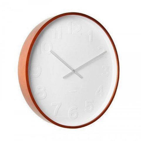 "KARLSSON ""MR. WHITE"" Wooden Case White Face w/ Number Wall Clock 38.2cm"