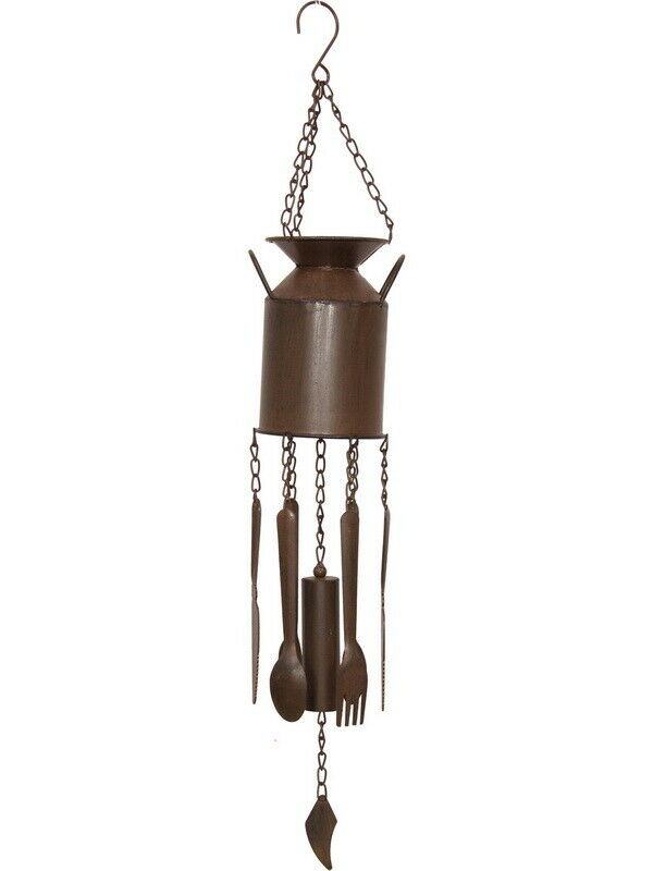 Rustic Rust Metal Cast Iron Milk Bottle Can Wind Chime Vintage style 79 cm
