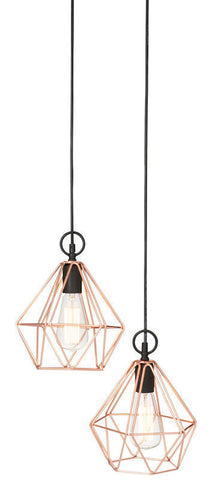 "New Amalfi ""Coop"" Pendant Copper Metal Pendant Light Twin Heads 145CM"