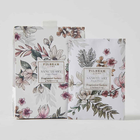 Pilbeam Sanctuary Scented Mini Sachets 4 x 10g per box in White w/ Fresh Floral