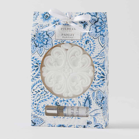 Pilbeam Paisley Scented Ceramic Hanging Disk in Blue w Fresh Linen