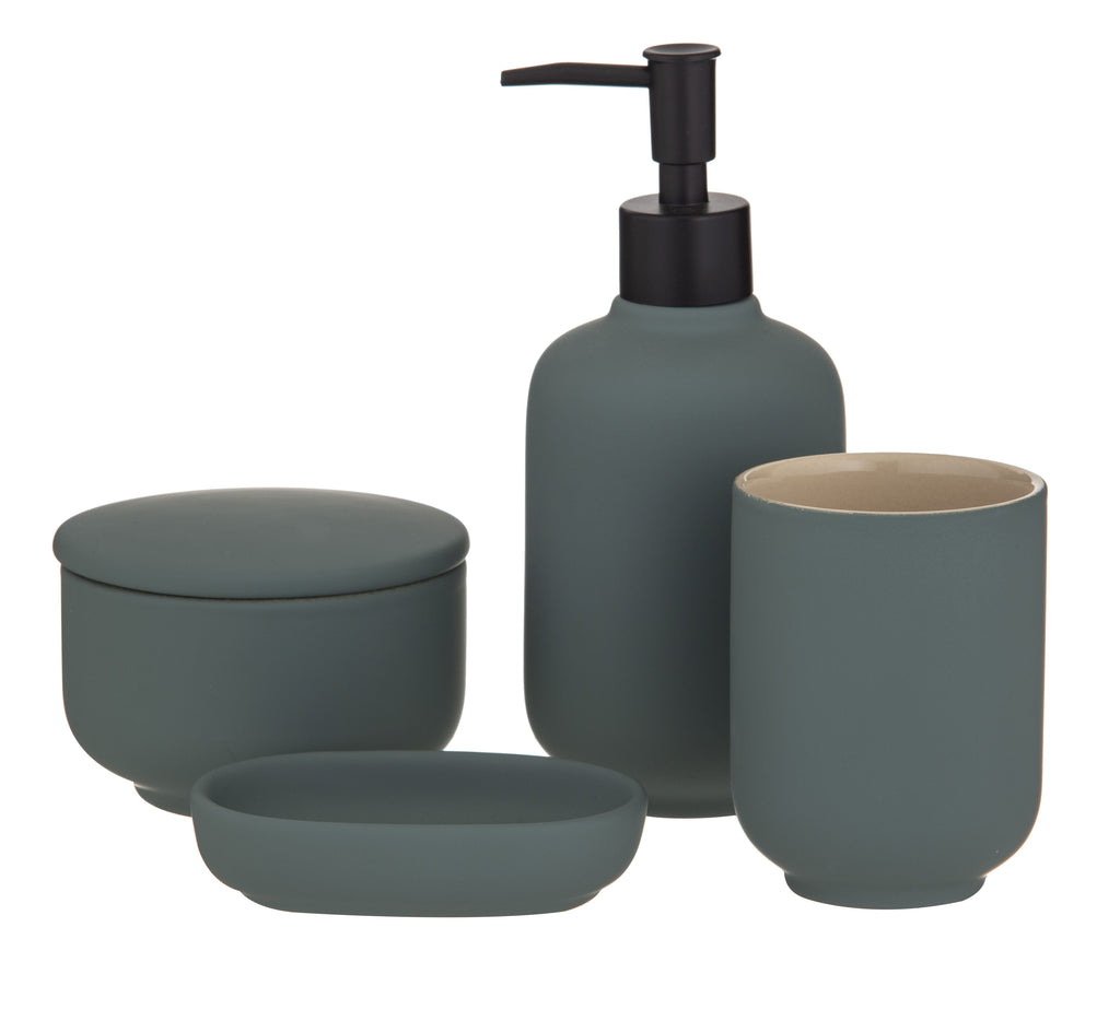 "New Academy ""BECKET"" Bathroom Clean Cup Dispenser Canister Set 4 pce in Green"