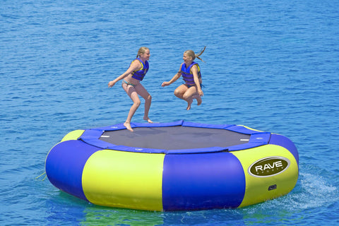 Aqua Jump 150 Northwoods Water Trampoline by Rave Sports with people jumping on the trampoline