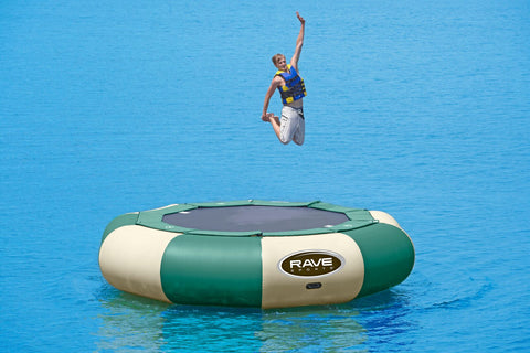 Aqua Jump 150 Northwoods Water Trampoline by Rave Sports in the water