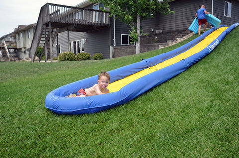 The Turbo Chute Water Slide Backyard Package by Rave Sports catch pool