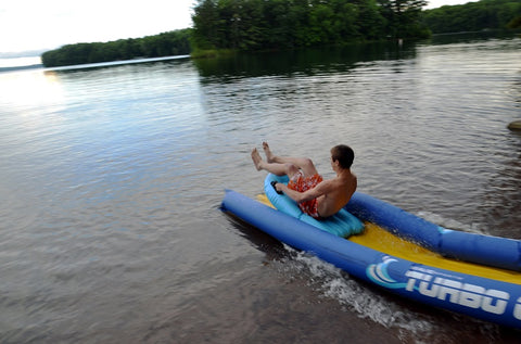 Turbo Chute Water Slide Lake Package by Rave Sports ending in the lake