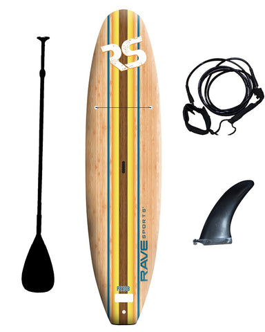 10ft 8in. Bamboo Soft Top Stand Up Paddle Board by Rave Sports  with paddle and leg lesh