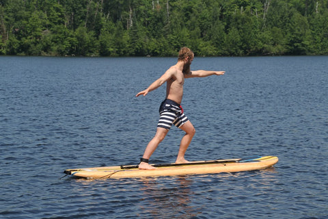 "Rave Sports 10'8"" Bamboo Soft Top with paddle and leg leash"