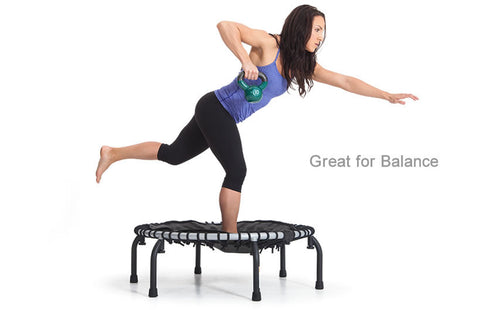 JumpSport Pro Series 350 Rebounder Fitness Trampoline with woman on the fitness trampoline