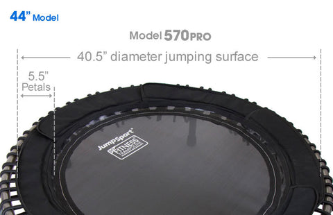"JumpSport Model 570 PRO Fitness Trampoline 44"" close up of mat"