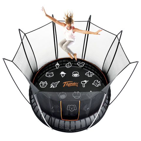 Spring less Vuly Thunder 14 Foot Trampoline Innovative tool-free assembly with leaf spring technology and enclosure