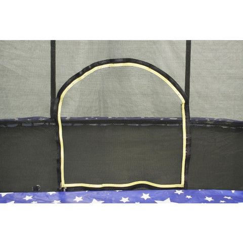 Oval 8x12ft JumpKing Rectangular Trampoline with Full Enclosure doorway