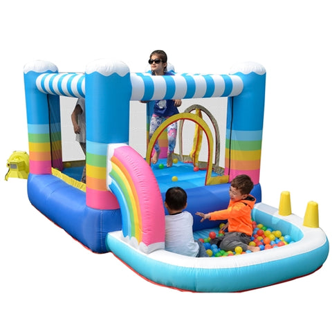 Aleko Indoor/Outdoor Inflatable Bounce House with Built-In Ball Pit - Rainbow Design - Multi Color