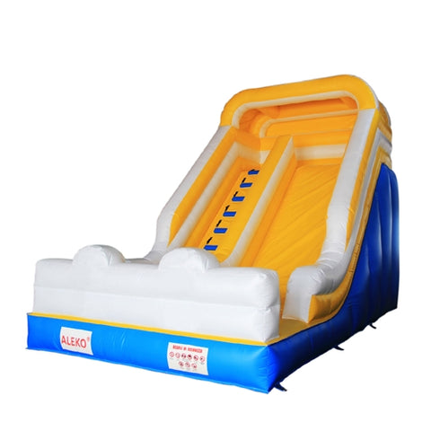 Bounce House with Blower - Blue, Yellow and White by Aleko  side view