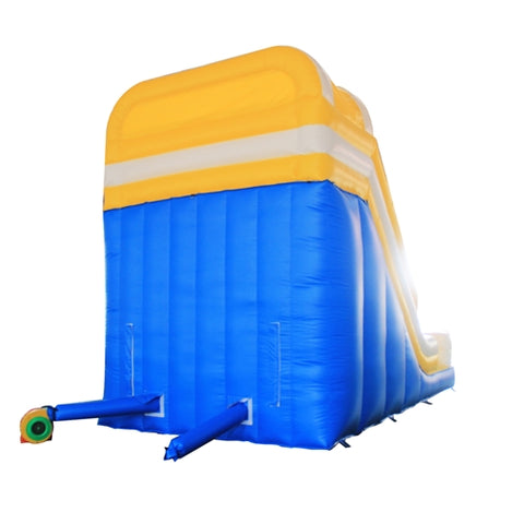 Bounce House with Blower - Blue, Yellow and White by Aleko back side