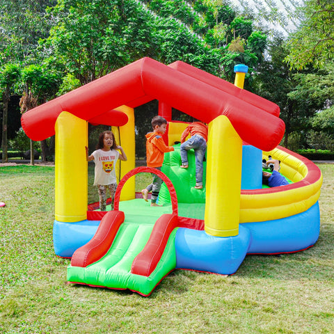Aleko Inflatable Playtime Bounce House with Double Slide and Removable Shaded Canopy