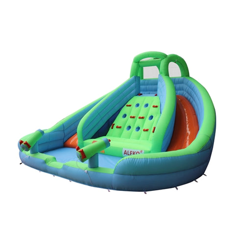 Commercial Grade Inflatable Dual Water Slide Bounce House with Splash Pool and Blower by Aleko