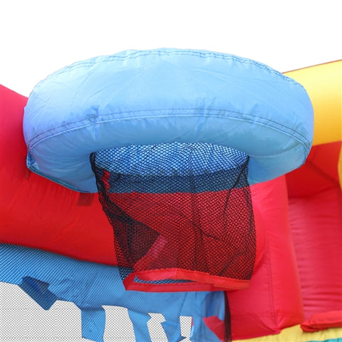 Commercial Grade Inflatable Fun Slide Bounce House with Ball Pit by Aleko basket ball hoop