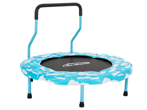 SkyBound Mini-4 40 inch Blue Children's Trampoline blue clouds safety pad side view