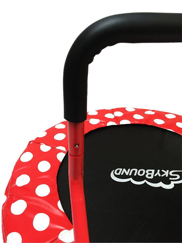 40 inch Red with White Polks Dots SkyBound Trampoline with handle close up