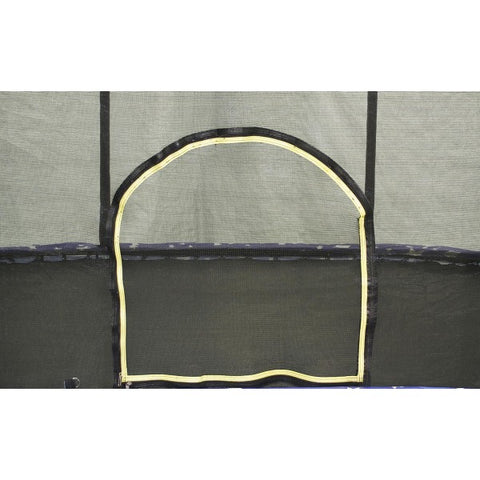 Oval Trampoline & Enclosure 8x12ft with graphic pad by JumpKing   enclosure door way