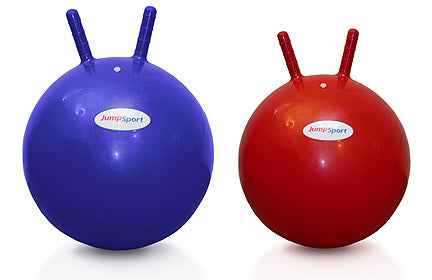 JumpSport Trampoline Hoppy Ball comes in Blue or Red