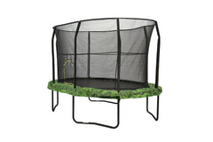 JumpKing Oval 8 x 12ft Trampoline with Enclosure and graphic pad