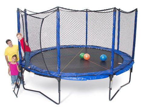 JumpSport 14FT Staged Bounce Trampoline Round with Enclosure Net Combo
