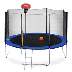 ExacMe Basketball Trampoline with Outer Enclosure Net & Ladder, Green/Orange, S12-S15