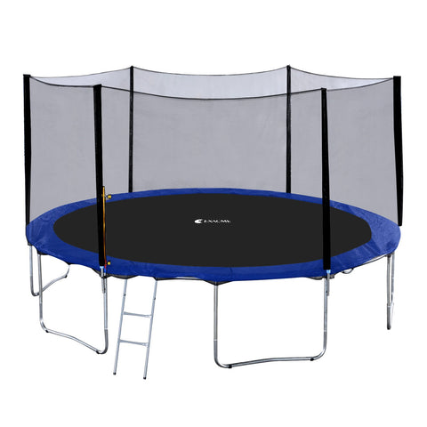ExacMe 14FT 15FT Outdoor Backyard Round Trampoline with Outer Enclosure Net and Ladder, S14 S15