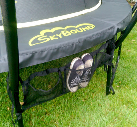 SkyBound Three Pouch Trampoline Shoe Bag installed on the trampoline frame