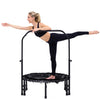 Image of SkyBound Numbus Fitness Rebounder with hand rail and carrying case woman stretching on it