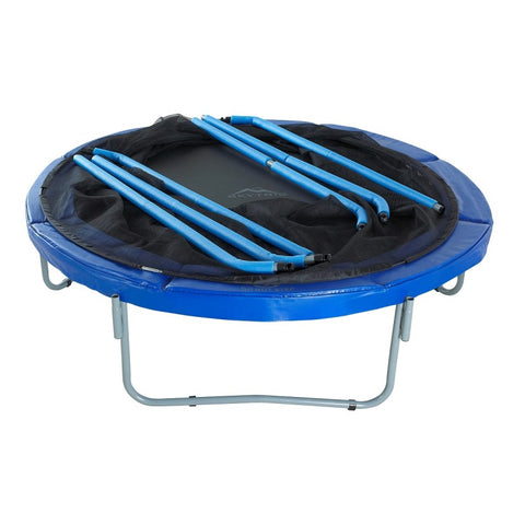 Skytric 15 foot trampoline with enclosure disassembled for winter months