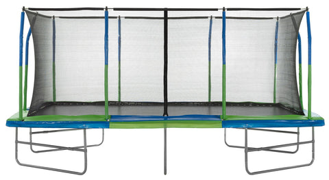 Upper Bounce - Mega 10' X 17' Gymnastics Style, Rectangular Trampoline Set with Premium Top-Ring Enclosure System - Green/Blue