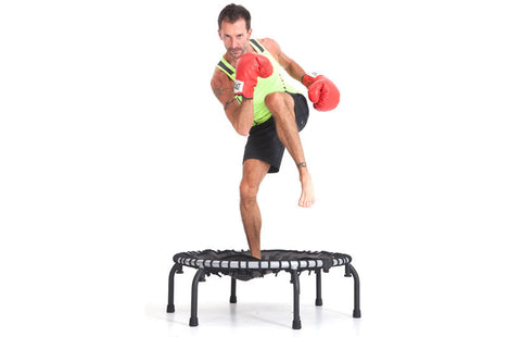 Folding Mini Fitness Trampoline Jump Sport 350 man on rebounder