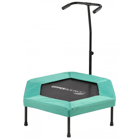 "Upper Bounce 40"" Hexagonal Fitness Mini-Trampoline - T-Shaped Adjustable Hand Rail - Bungee Cord Suspension - Green"